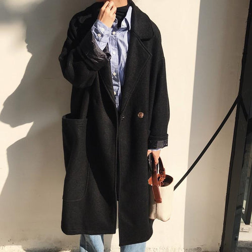 Fashion Lapel Plain Thicken Loose Woolen Long Coat