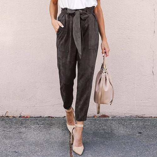 Solid Color High Waist Pocket   Loose Trousers
