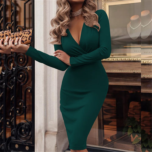 Fashionable Deep V Neck Long Sleeve Dress