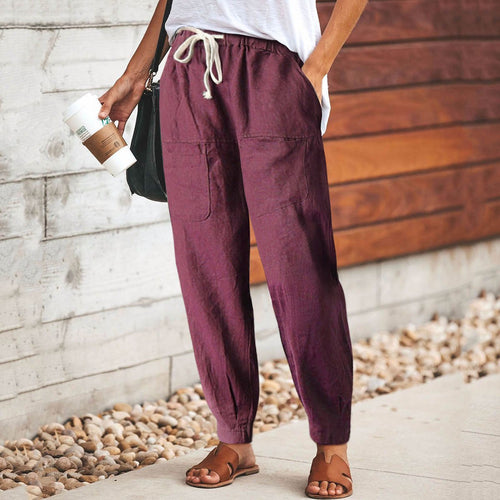 Casual All-Cotton Loosen Elastic Waist Plain Harem Pants