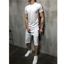 Load image into Gallery viewer, Side-Stripe Hip Hop Short Tracksuit Set