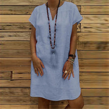 Load image into Gallery viewer, Casual V Collar Plain  Loose Shift Dress