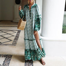 Load image into Gallery viewer, Printed Contrast Loose Long Sleeve Split Bohemian Maxi Dress