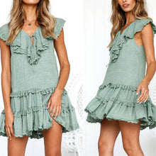 Load image into Gallery viewer, V-Neck Ruffled Hem Lace   Stitching Sexy Dress