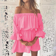 Load image into Gallery viewer, Sex Off-Shoulder Tunic Flouncing Mini Dress