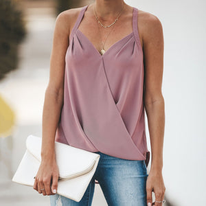 Sexy V Collar Wrinkle Shoulder Straps Loose Sleeveless Garment