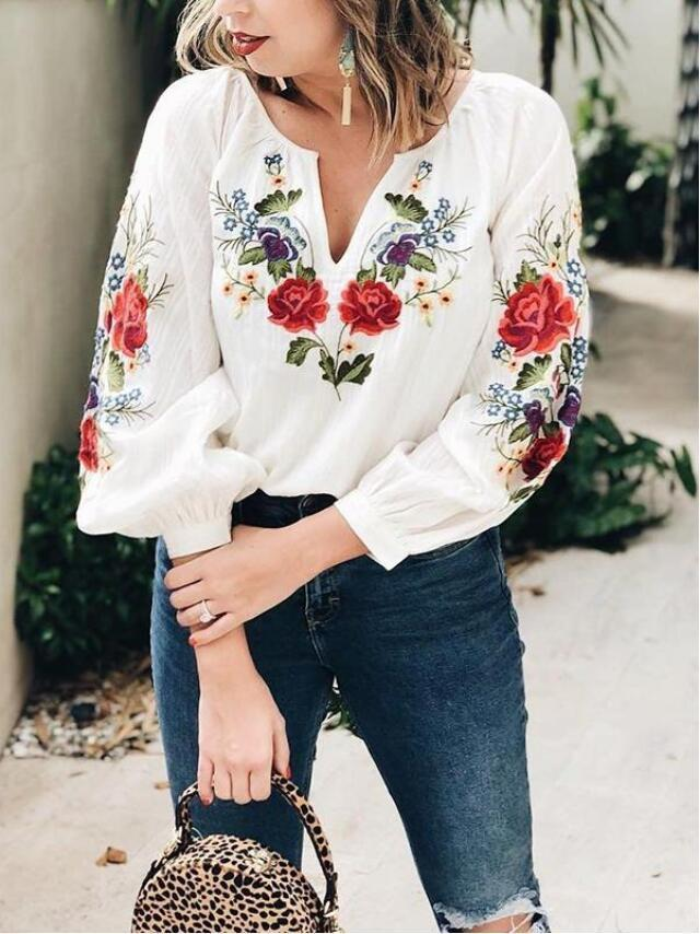 V-Neck Embroidered Floral Blouse