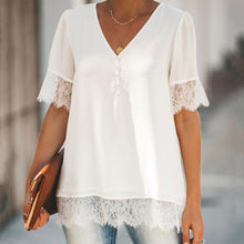 Load image into Gallery viewer, Lace Hem V-Neck Button Front Top