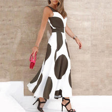 Load image into Gallery viewer, Casual Polka Dot Sleeveless V Neck Maxi Dresses