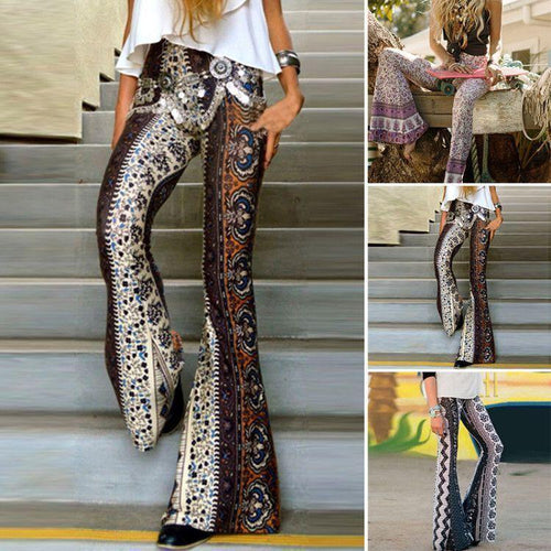 Casual Fashion Printed   Shown Thin Flared Trousers