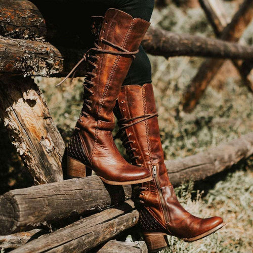 Vintage women's high boots with lace-up boots