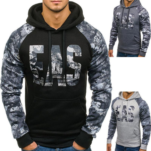 Fashion Split Joint Printed Slim Hoodie