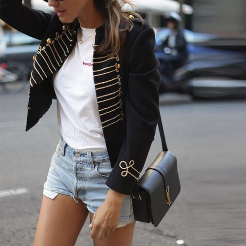 Gold Thread Embellished Stylish Short Coat
