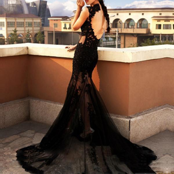 Black Sexy Lace Evening Fishtail Dress Long Dress
