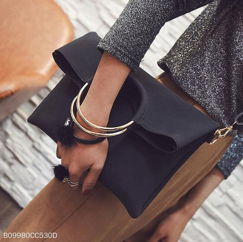 Fashion Casual Plain Mental Round Handle One Shoulder Rectangle Bag