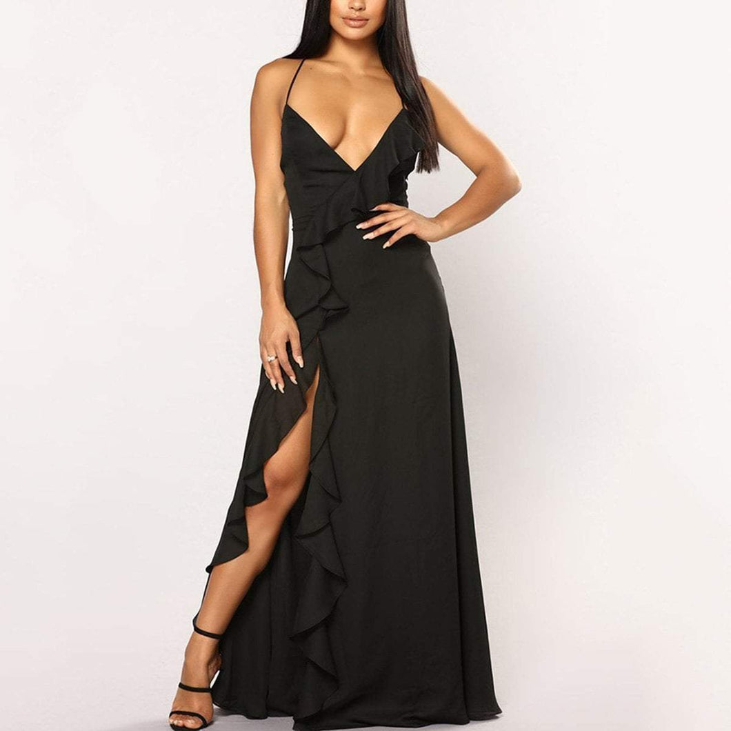 Sexy Sleeveless Slit Fishtail Evening Maxi Dress