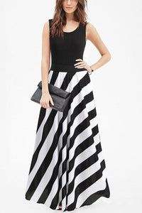 Sexy Striped Vest Evening Dress