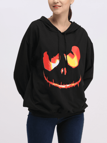 Halloween Pumpkin Printed Long-Sleeved Hooded Hoodies