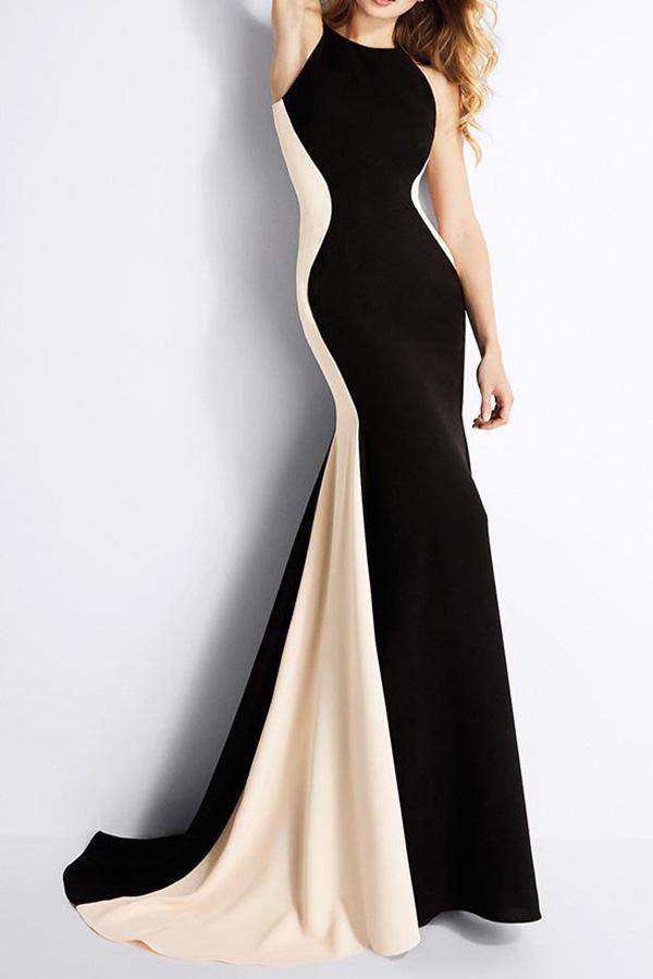 Sleeveless Spell Color Slim Fishtail Evening Dress