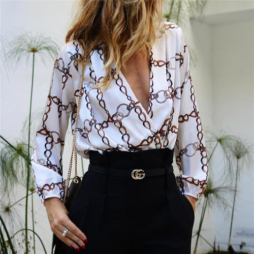 Fashion V Collar   Long-Sleeved Print Shirt