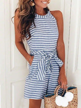Load image into Gallery viewer, Striped Vacation Sleeveless Casual Romper
