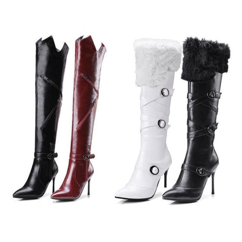 Pointed Toe Thin Heels PU Leather Boots Fur Shoes