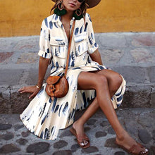 Load image into Gallery viewer, Button Down Collar Stripes Half Sleeve Maxi Dresses