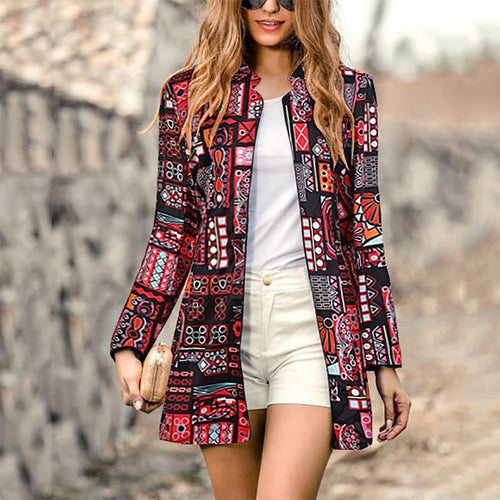 Retro Fashion Slim Print Long Sleeve Suit Cardigan
