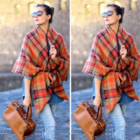Casual Fashion Thermal Loose Plaid Square Shape Cape Scarf