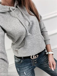 Casual Solid Color Long-Sleeved Fleece Pocket Hoodies