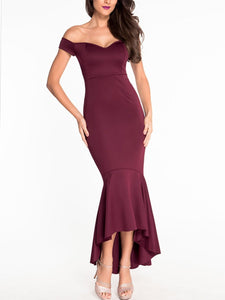 Off Shoulder Plain Mermaid Fishtail Evening Dress
