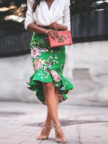 Elegant V-Neck Top With Green Satin Vintage Printed Skirt Two- Piece