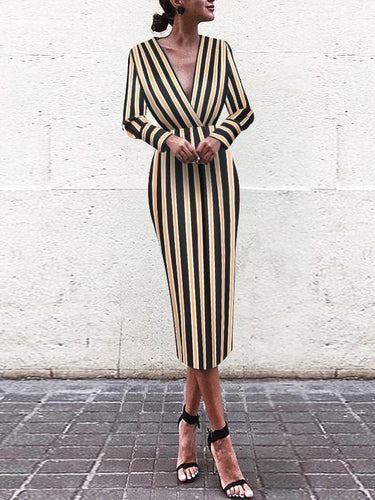 Fall Chic Vintage Long-Sleeve Print Stripe Bodycon Dress