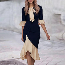 Load image into Gallery viewer, Fashion Color Blocking Ruffle Sleeve Bodycon Dress