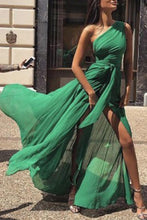 Load image into Gallery viewer, Fashion One Shoulder Chiffon Maxi Dress