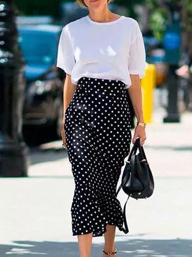 Fashion Polka Dot   Ruffled Skirt