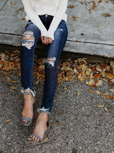 Fashion Slim Fit Pencil Ripped Jeans Pants