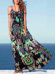Floral Printed Straps Long Maxi Dress