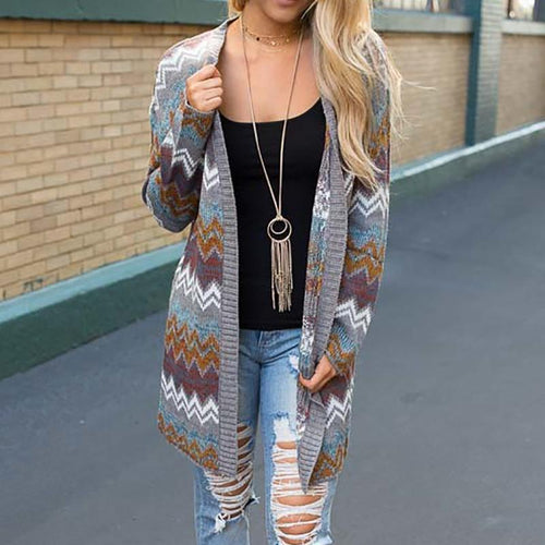 Mid-Length Wavy Print Sweater Knit Cardigan