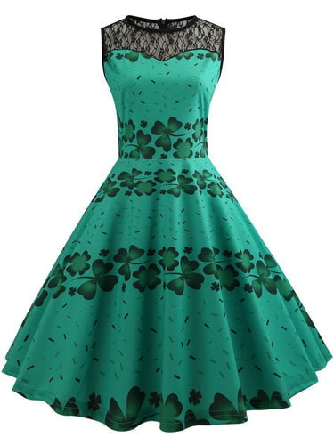 Round Neck Patchwork Hollow Out Clover Printed Skater Dress