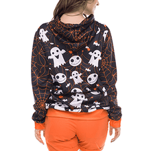 Load image into Gallery viewer, Halloween Ghost Pumpkin Pattern Hooded Pullover