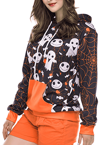 Halloween Ghost Pumpkin Pattern Hooded Pullover