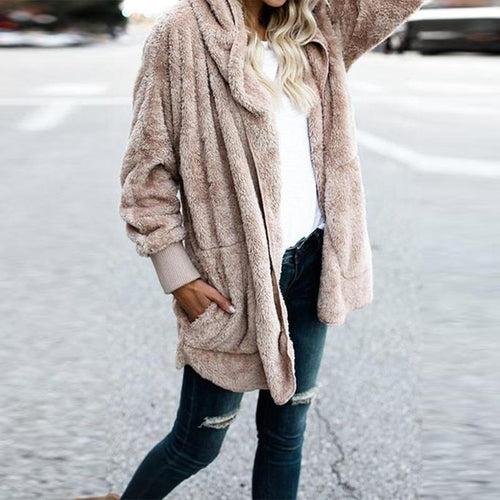 Hooded Fluffy In Fleece Fur Cardigan