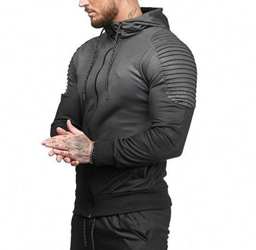 Mens' Autumn Winter Long Sleeve Splicing Fold Hooded