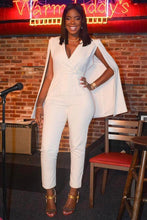 Load image into Gallery viewer, White Deep V Cape Sleeves Slinky Jumpsuit