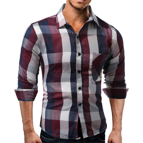 Fashion Loose Check Button  Shirt