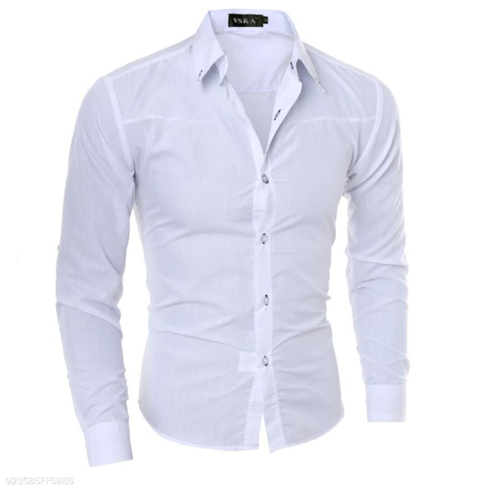 517f072f3c3 ... Load image into Gallery viewer, Fashion Youth Business Slim Plain  Button Long Sleeve Shirt Top ...