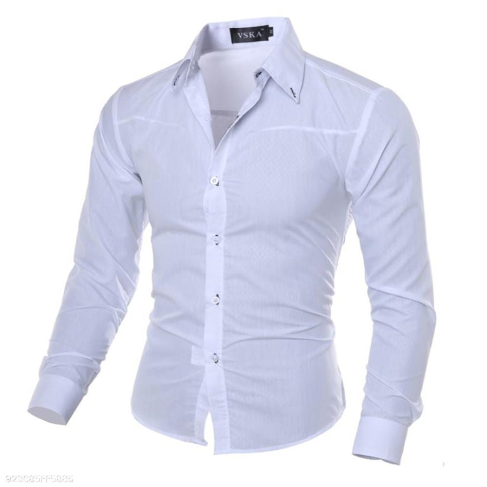 a6b3235479d Load image into Gallery viewer, Fashion Youth Business Slim Plain Button Long  Sleeve Shirt Top ...