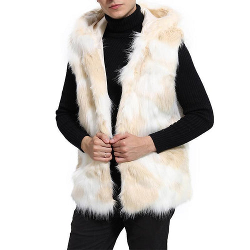 Men's Fashion Faux Fur Vest Long Section