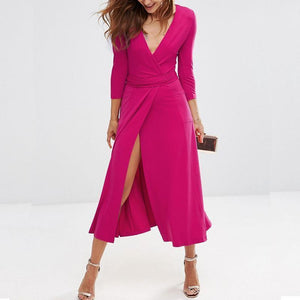 New Split V-Neck Slim Evening Dress